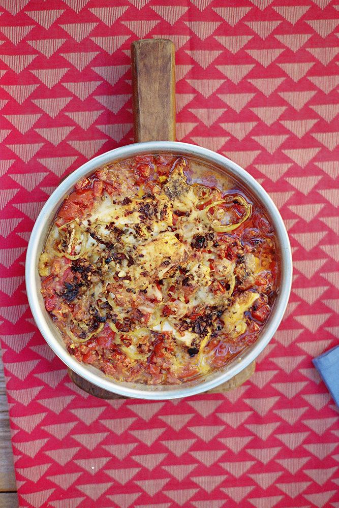 Delicious bouyiourdi recipe with tomato, feta and oregano